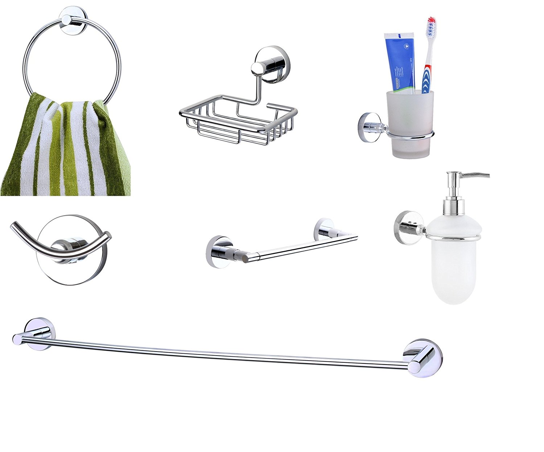 KRM Moonstone Towel Ring+ Soap Dish+Tumbler Holder+ Soap Dispenser+Towel Rod +Grab Bar+Robe Hook- Pure Brass
