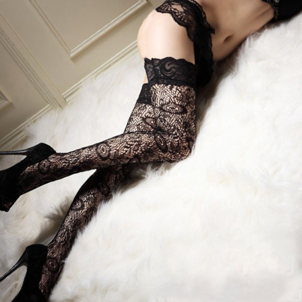 d99286b7cee Wholesale- Sexy Women Stockings Thigh Highs Sheer Lace Top Thigh High  Hosiery Women Lady Stay Up