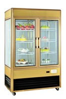 Aluminum Alloy Vertical Rotating Cake Showcase upright freezer with Glass Door
