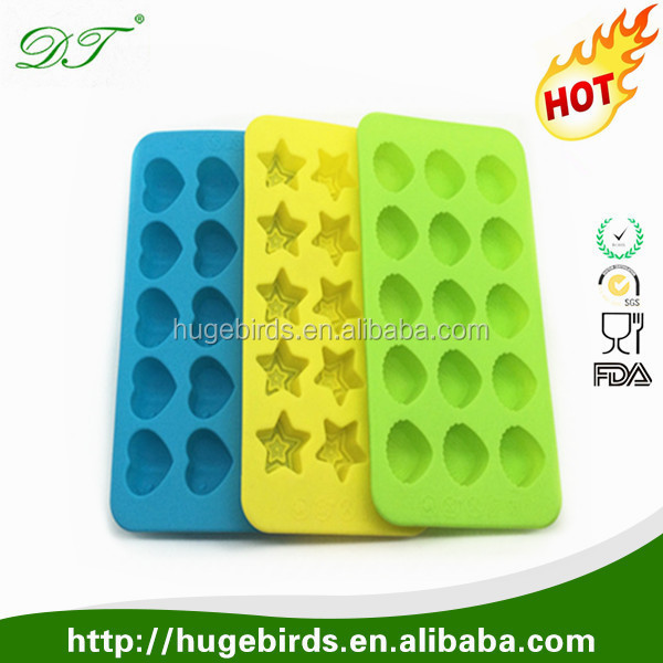 Hot sale 2016 decoration design Mini conch/stars/heart Shape custom Ice Cube Mold FDA food Silicone ice cube