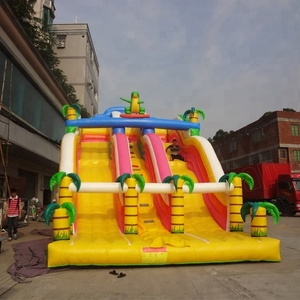 Bright Inflatable Yellow Color Palm Dry Slide Double Lane Slide