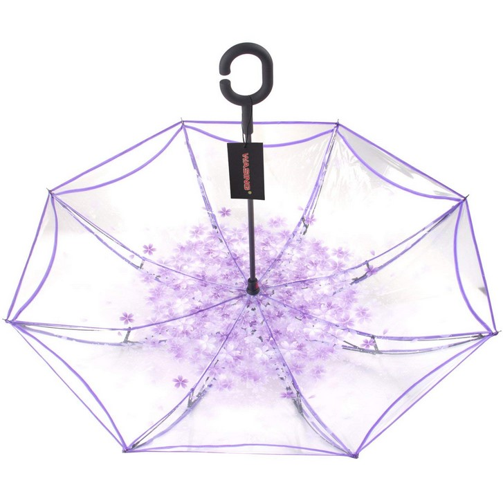 New Design Double Layer Clear Reverse Straight Umbrella with  Crook  Handle