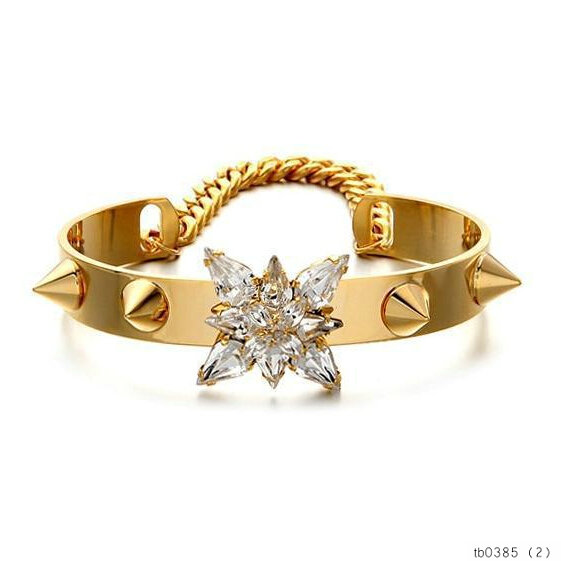 Fashion Trendy Stone Studed Rivet Bracelet Bangle