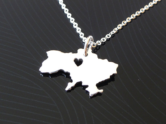 fashion popular silver and gold plated Ukraine map necklace pendant jewelry