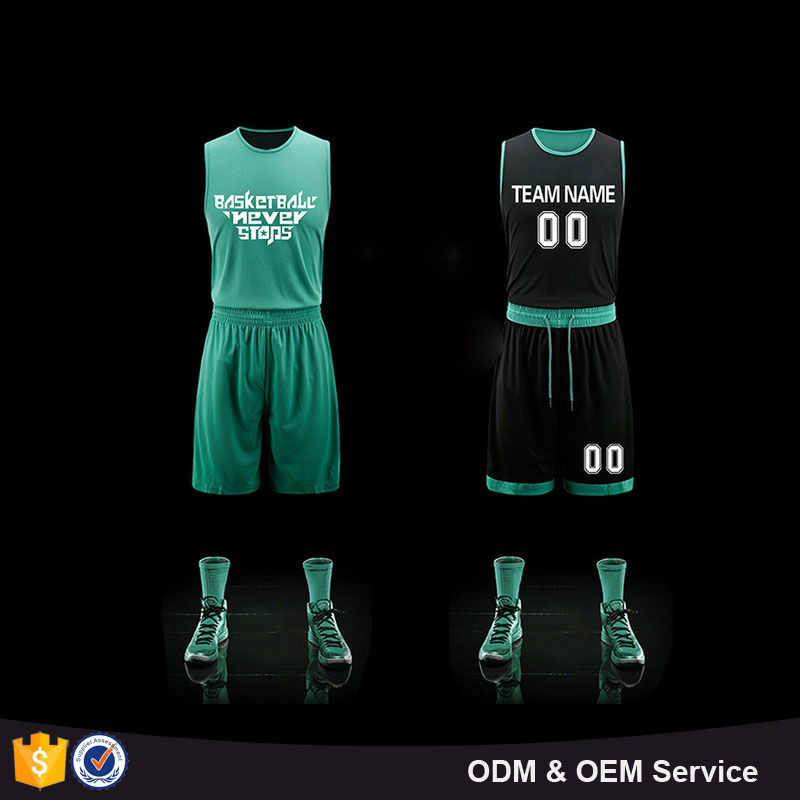 Plain basketball wear double side blue green color mesh dry fit basketball jersey