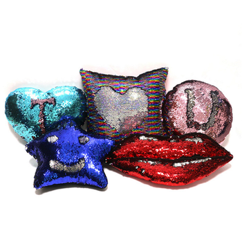 2017 Hight Quality Heart Shaped Mermaid Sequin Decorative Pillows