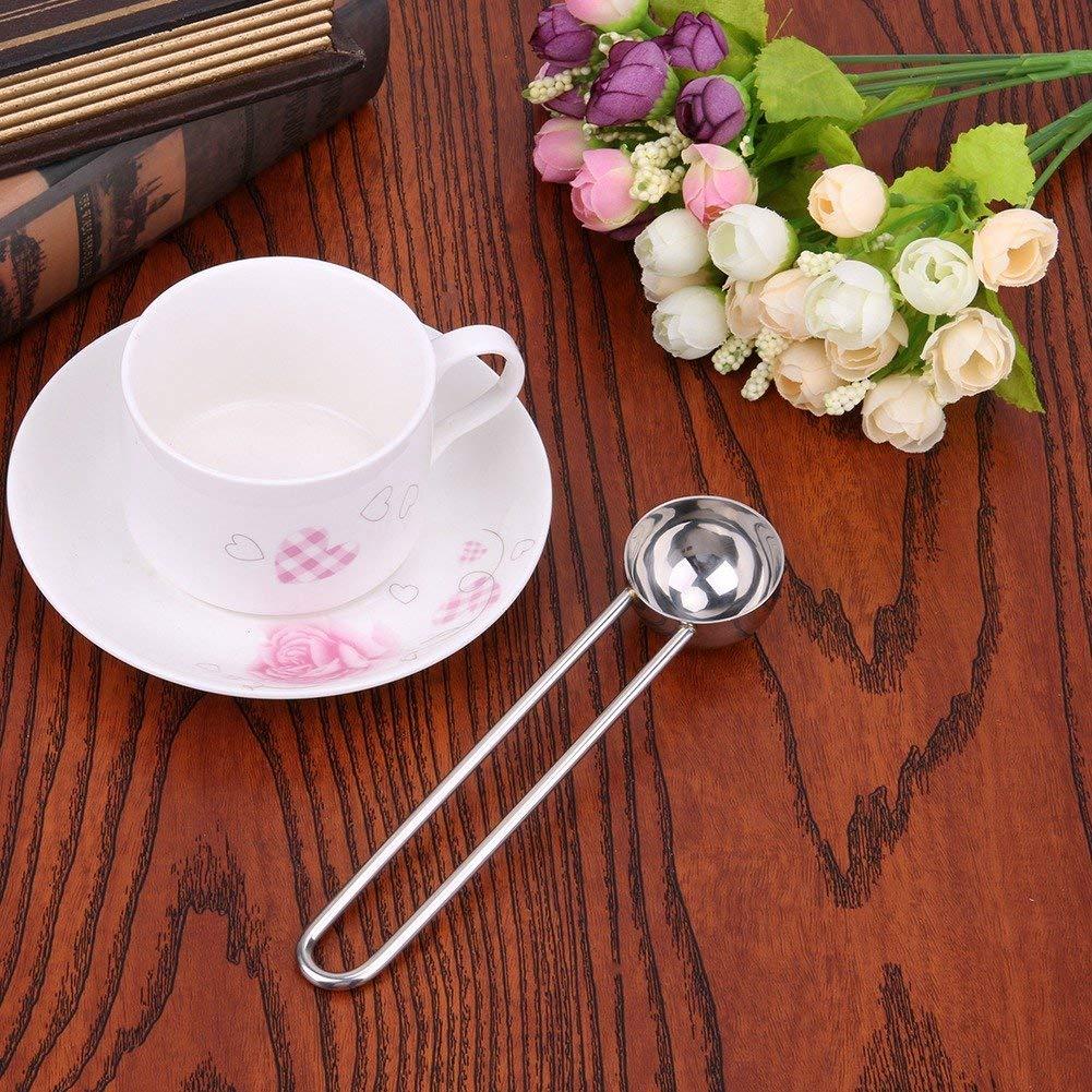 Long Handle Measuring Stirring Tea Bean Spoon Stainless Steel Coffee Scoop Ground Coffee Tea Measuring Scoop
