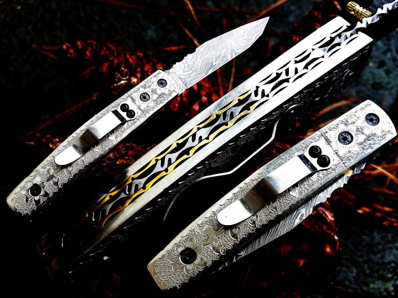 "3.5"" Damascus Blade Custom Handmade Folding knife w/ Engraved Handle, Pocket Clip, File-Work, Liner Lock & Sheath cover UDK-US-123"