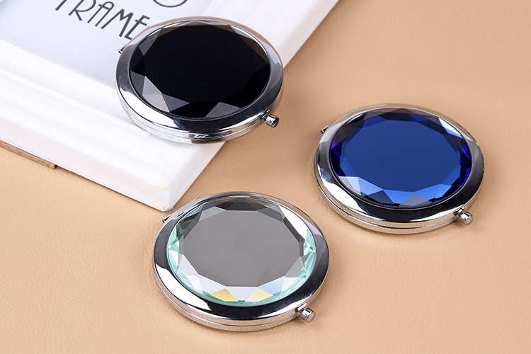 Wholesale cheap royal blue round crystal cosmetic makeup compact mini hand mirror