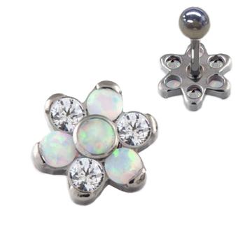 1868d88a6 Titanium Opal Zirconia Flower Ear Tragus Helix Piercing Earring Jewelry