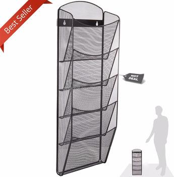 Mesh 5 Slot Wall Mounted Magazine Rack Holder Onyx Steel Display