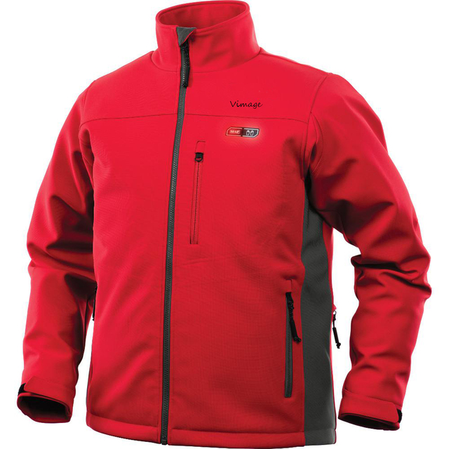 Winter Red Windproof 7.4V Rechargeable Battery Heated Jacket