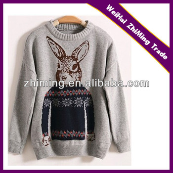 Mr Peter Rabbit Pattern Print Knitted Pullover Sweaters Women Crew