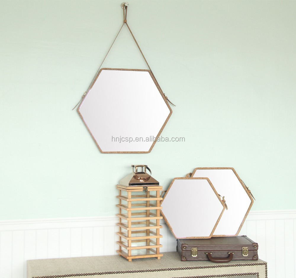 Medium hexagon cork hinged wall mounted mirror with leather strap