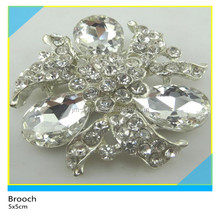 Bling Bling Clear Diamond Rhinestone Brooch Clear Crystal Flower Brooch 5x5cm