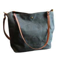 Custom High Quality Wax Canvas Beach Shoulder Bag Waxed Shopping Tote Bag