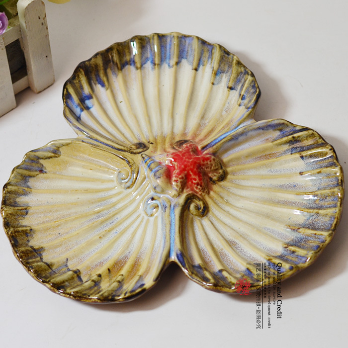 Features ceramic shell fruit plate 5 Creative / gifts / modern minimalist / home decor / furnishings