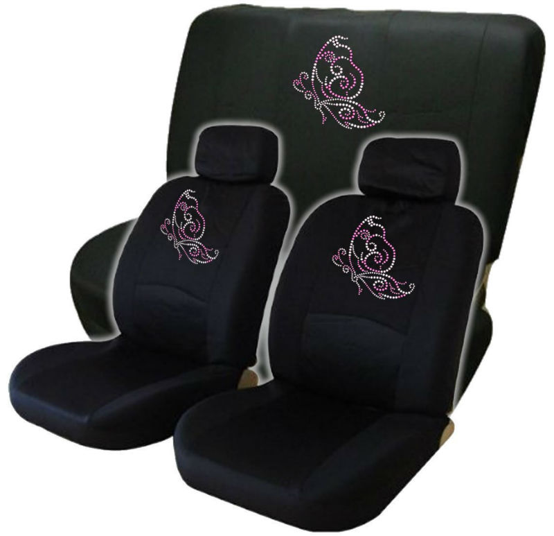 Pink Butterfly Low Back Seat Covers With Bench Cover Gem Crystals Studded Rhinestones