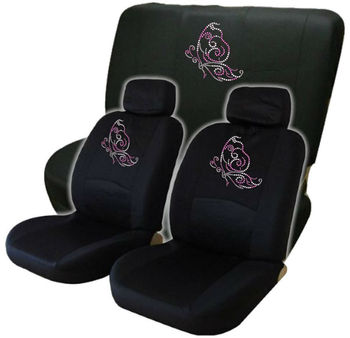 Brilliant Pink Butterfly Low Back Seat Covers With Bench Cover Gem Crystals Studded Rhinestones Buy Red Car Seat Covers Nightmare Before Christmas Tan Leather Bralicious Painted Fabric Chair Ideas Braliciousco