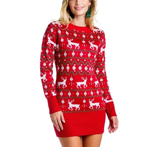 High Quality New Arrival Latest Design Unisex Custom Women Christmas Red Sweater Dress