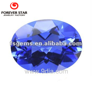 Middle Blue Crystal Stone For Jewelry 16*12mm Oval Created blue Crystal Quartz
