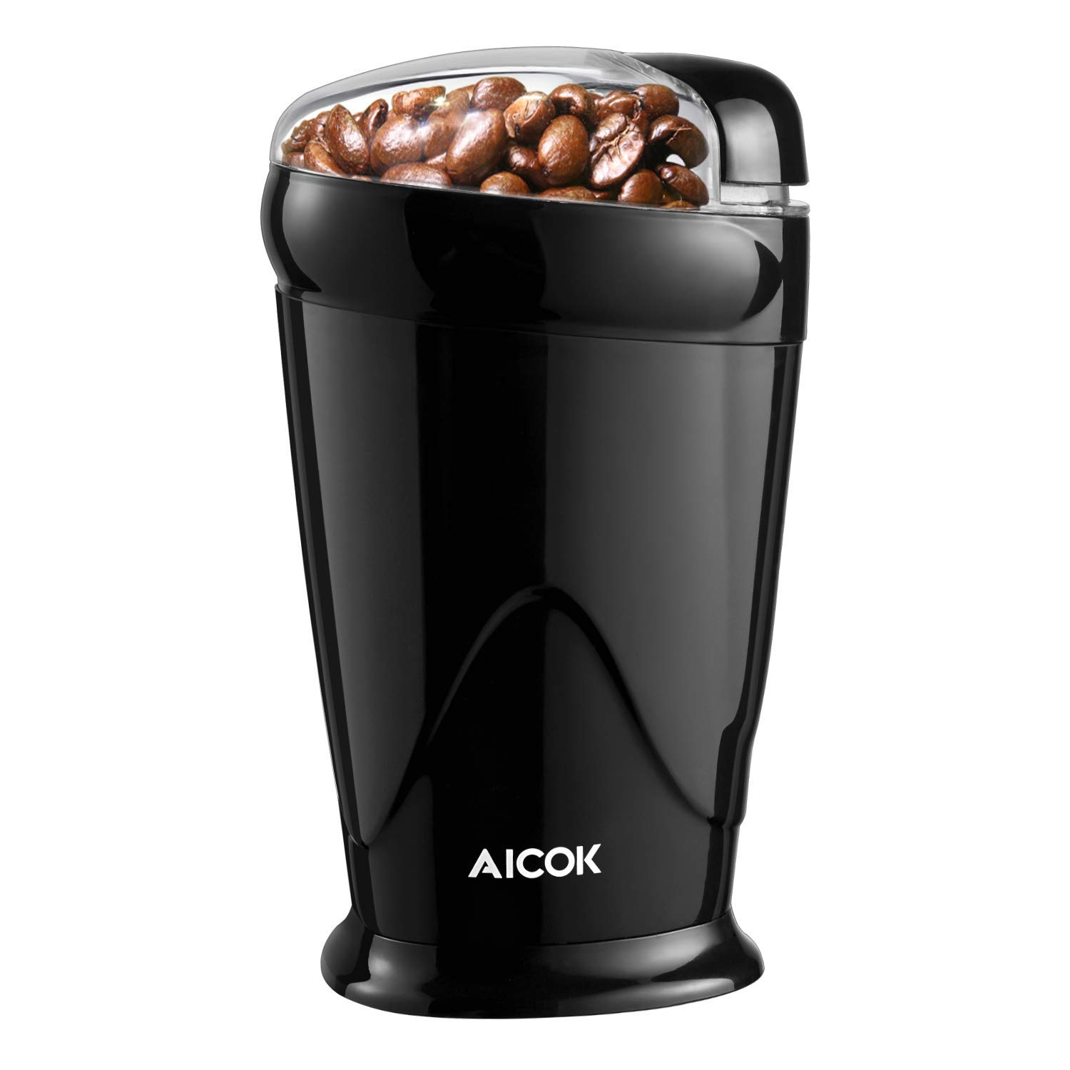 Electric Coffee Grinder, Aicok Coffee Bean Grinder Electric 12 Cup, Portable Spice Grinder with Stainless Steel Blades 150W, One Touch Control Fast Grinding Coffee Beans, Nuts, Grains, 65G