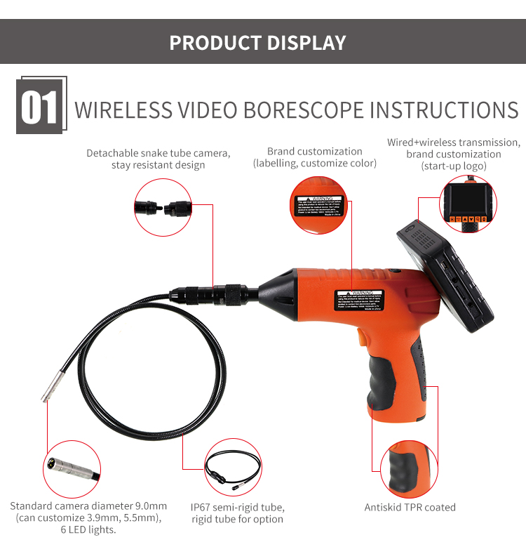 AV7810 3.9mm 20 meter tube video borescope industrial endoscope inspection camera 20m cable