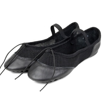 JW Mesh Upper Leather Black Ballet Dance Shoes