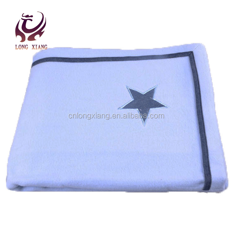 Embroider Blue Plain Woven Low Price Cotton Throw Blanket In Stock
