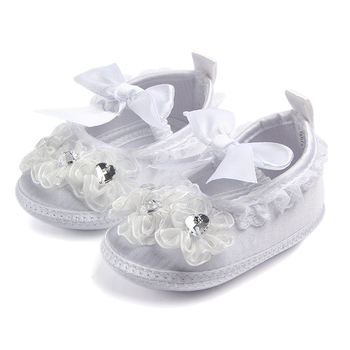 Satin Lace Border Butterfly-knot newborn baby baptism christening shoes