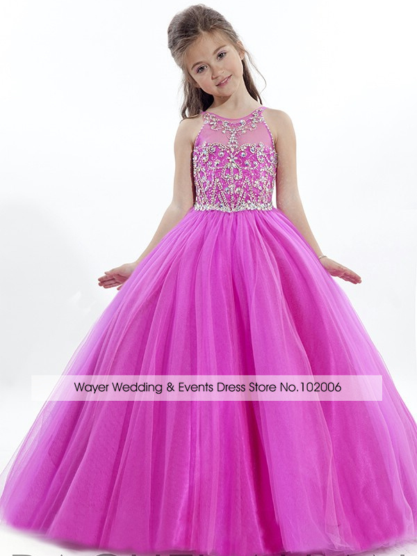 c04e43637 Get Quotations · 2015 Celebrity Girls Pageant Dresses for little girls  Rhinestone Crystal Beaded Hot Pink Puffy Girls Ball