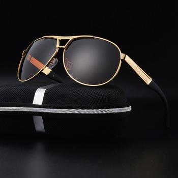 09d11a59176 High quality gold metal frame sunglasses classic big frame men polarized  sunglasses