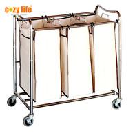 Home laundry sorter laundry hamper Heavy-Duty steel tubes High quality 3-Bag Laundry cart