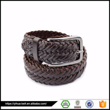 popular casual wide Brown Leather elastic braided leather belt mans