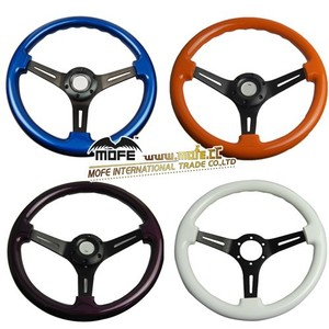 Color and Logo OEM Universal 53mm Deep Corn / Dish 350MM WoodenSteering Wheel For Sport Racing Car