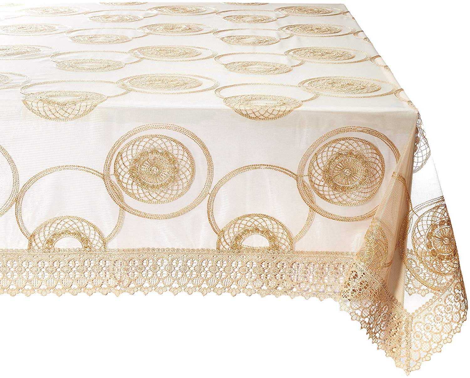 """Violet Linen Marvelous Lace Tablecloth With Embroidered Round Scroll Design, 70"""" x 120"""", Gold"""