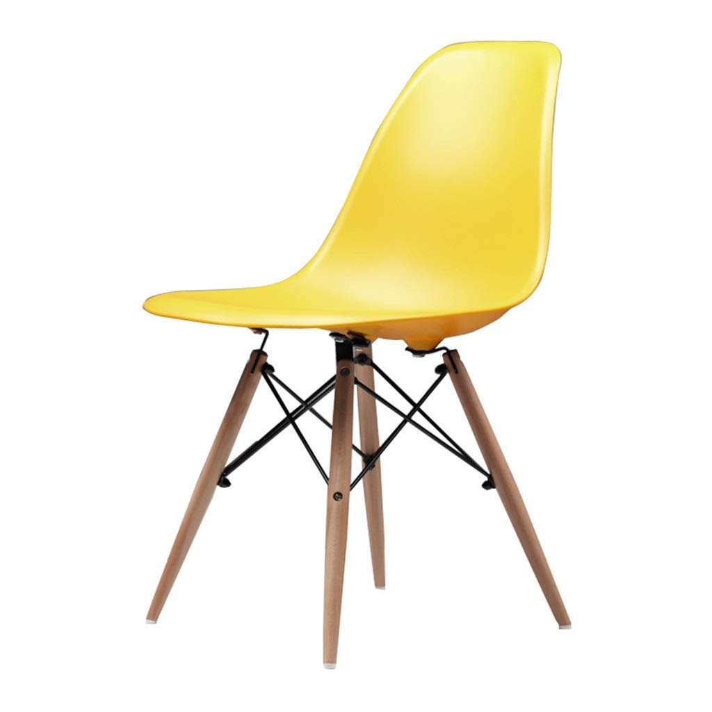 Wooden Chair Creative Office Stools Kitchen Dining Table Meeting Room Backrest Business Computer Chair Barstools Max Load 150kg,45x45x82cm,Yellow
