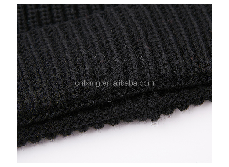 Wool knitting striped beanie hat unisex solid color hats