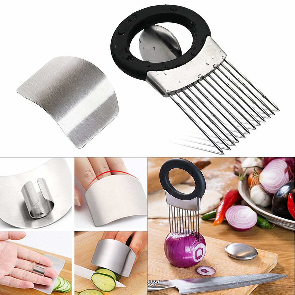 Onion Holder For Slicing / Vegetable Potato Cutter Slicer /FULL GRIP HANDLE / Odor Eliminator /Stainless Steel Cutting Kitchen Gadget / Onion Peeler (MAGIC SOAP Onion Holder with Slicer)