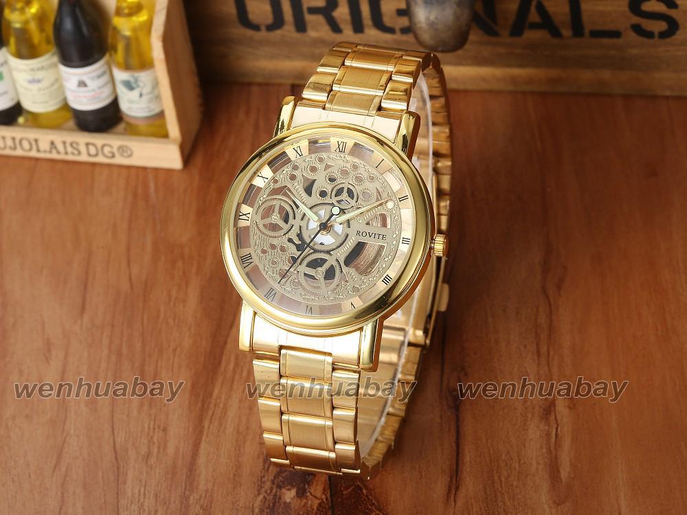 Роскошь золотой скелет дизайн циферблат час кварцевый до запястья часы сталь лента мужчины женщины леди унисекс бизнес лучшие подарки Q2743