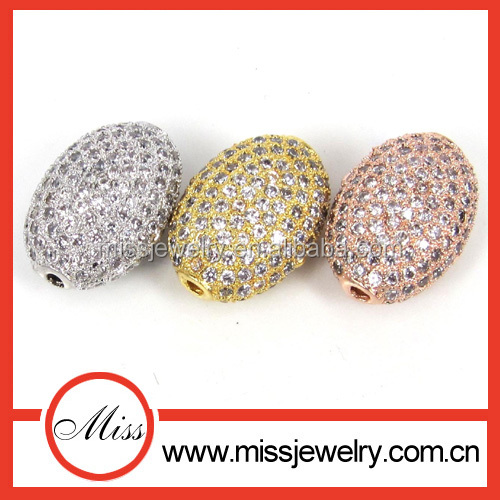 DIY charms silver cz diamond pave flat oval bead