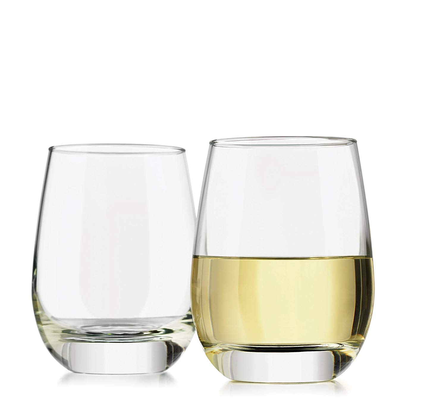 Libbey 4-Piece Alyse Stemless Heavy Base White Wine Glasses, 15.25-Ounce, Clear