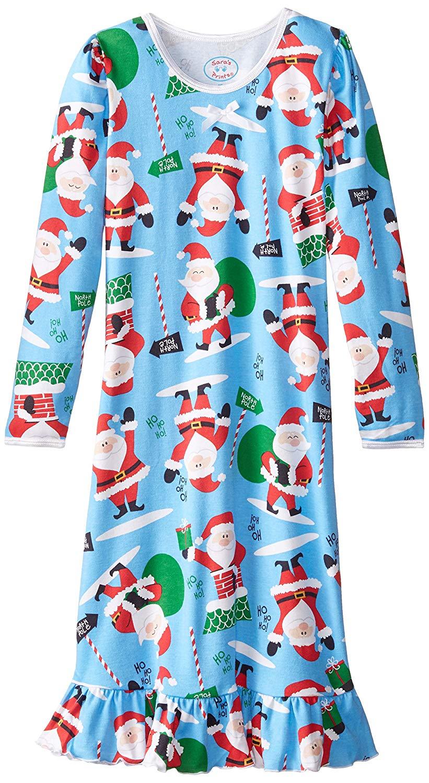 Saras Prints Big Girls Puffed Sleeve Nightgown Blue Gnomes 10