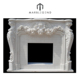 white marble gas fireplace frame