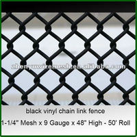 1-1/4''/2 inch 9 gauge 6 foot Used Black Vinyl Chain Link Fence Mesh For Sale