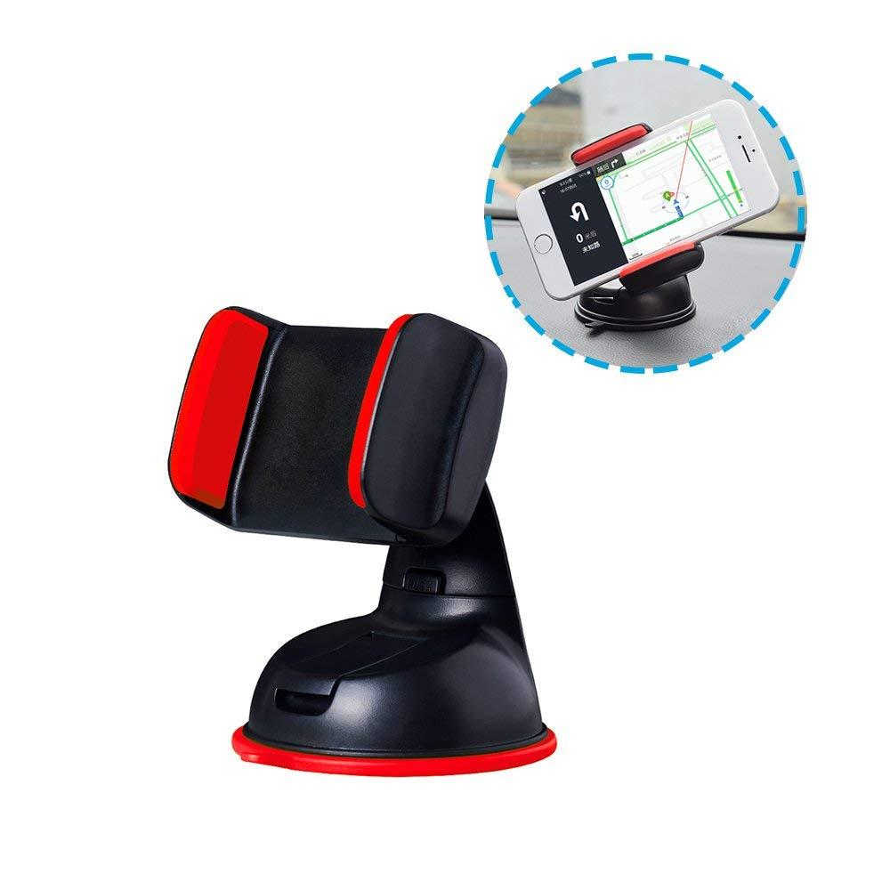 Mini Car Cradle, 360° Rotation Adjustable Direction Car Cradle Windshield/Dashboard-Black+Red