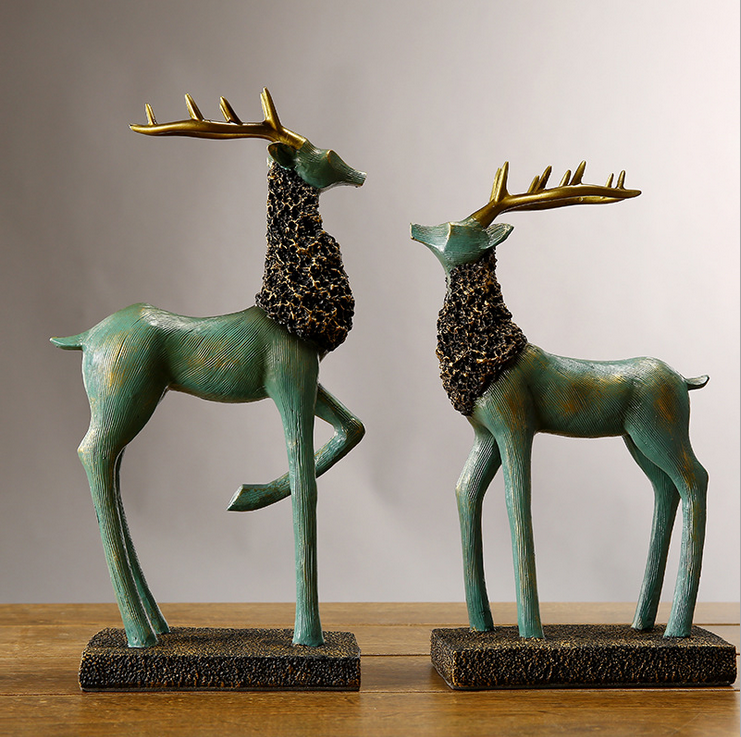 2017new American countryside green resin couple elk statues for home decor