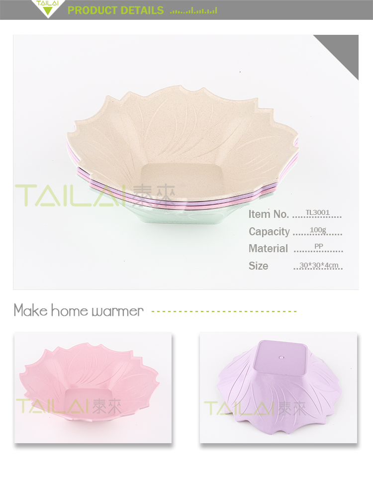Cute flower shaped practical washable plastic fruit plate