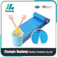 HDPE drawstring garbage bag on roll