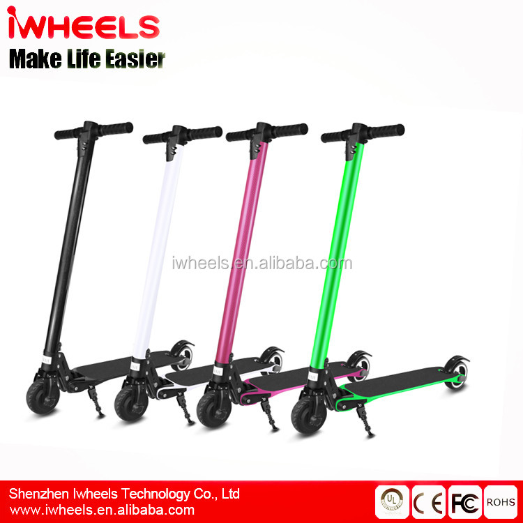 2017 High Power Electric Scooter Carbon Fiber Foldable Lighted Two Wheels Electric Kick Scoote And parts For Sale